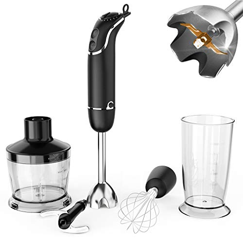 KOIOS oxasmart 800W 12-Speed Immersion Hand Blender Set Includes BPA-Free Food Chopper/Egg...