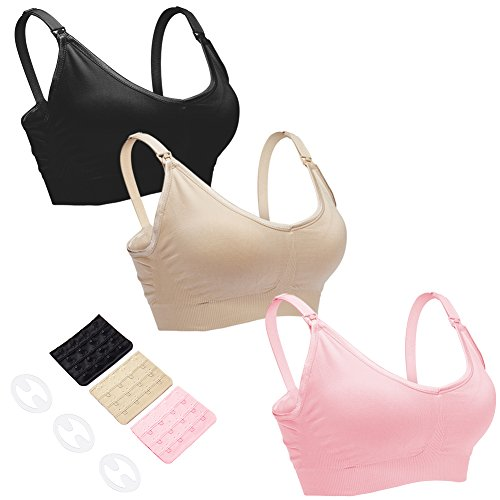 CLUCI 3 Pack Womens Nursing Bra Bralette for Maternity and Breastfeeding Seamless Wireless Breathable Sleeping Bra L
