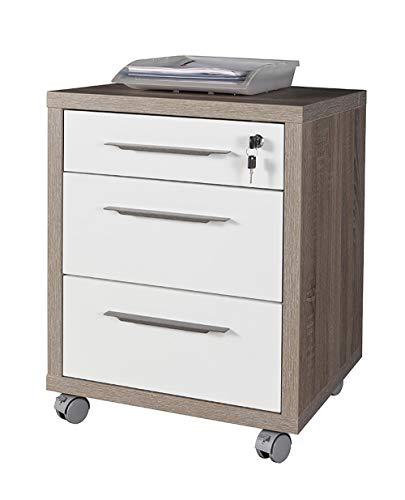 Amazon Marke - Movian - Rollcontainer mit 3 Schubladen, 49 x 63 x 45cm, Dunkle Eiche/Hochglanz Weiß