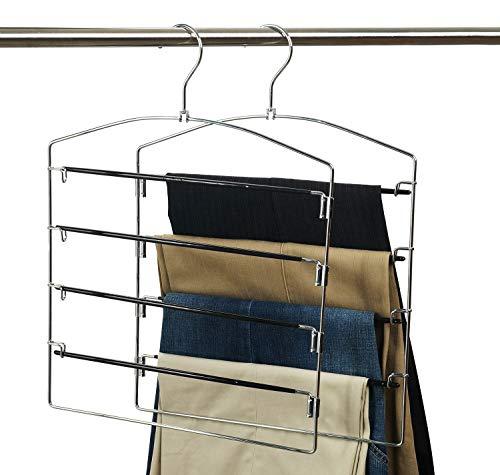 Nature Smile Clothes Pants Hangers 2pack Multi Layers Metal Pants Slack HangersFloding Hook Non-Slip 4-Tier Swing Arm Pants Hangers Rack Closet Storage Organizer for Trousers Jeans Scarf Skirts