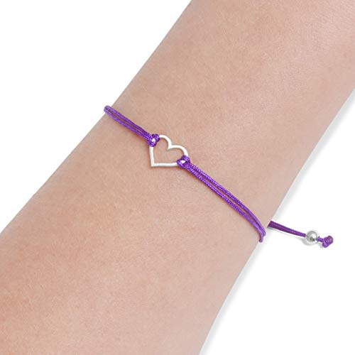 Purple Womens Friendship Bracelet, Small Handmade Sterling Silver 925 Open Heart Shaped Charm, Pull Adjustable Kindred Cord Thread. Perfect Gift Set
