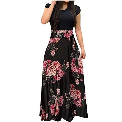 StarneA Strandkleid Damen Lang, Lässiges Blusenkleid Kurzarm Sommerkleid Damen Maxikleid Elegant Urlaub Kleider Hohe Taille Druckkleider
