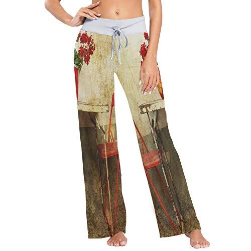 Mesa de Metal Oxidado Estampado de Silla roja Pantalones de Pijama para Mujer Ropa de Dormir Pantalones de Yoga Sueltos Palazzo con cordón Informal - XL
