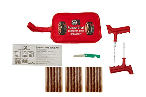 Ranger Stork Tubeless Tire Repair Kit Set Tool Bag for Motorcycles & Atvs, Lawn Mower, Truck, RV, Tractor Flat Tire Plug Kit and Car Emergency Kit