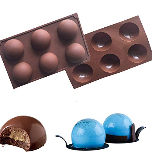 2 Pack Hot Chocolate Bomb Molds Semi Sphere 6 Holes Silicone Mold for Baking Cake DIY, Candy, Pudding, Jelly Moulds (2pcs chocolate ball)