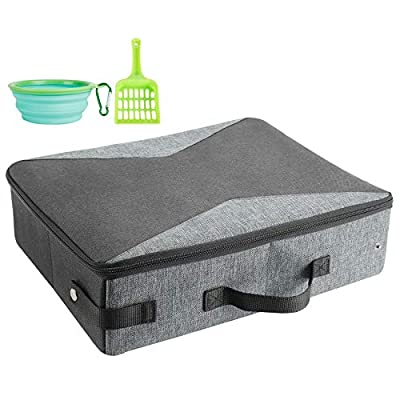 HiCaptain Travel Cat Litter Box with Lid and Handle Standard Portable Collapsible Litter Carrier for Cat (L,Black/Blue)