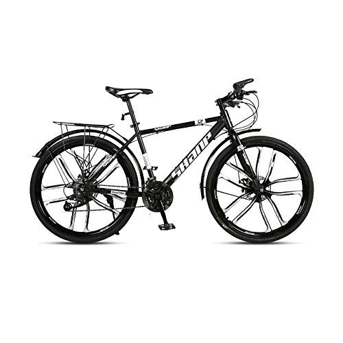 GYZLZZB Ten Knife Wheels Adult 26 Inch 21-Speed Bicycle Full Suspension Gears Dual Disc Brakes Mountain Bicycle, High-Carbon Steel Outdoors Mountain Bike with Shelves and Fenders(Black)