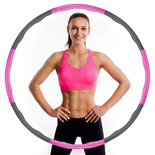 YENOCK Fitness Reifen Hoop, Hoop Reifen für Erwachsene und Kinder, Abnehmbar 6-8 Knotens Design, für Anfängermit für Fitness für Fitness/Sport/Zuhause/Büro/Bauchformung
