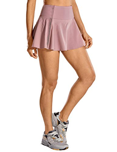CRZ YOGA Women's Quick Dry High Waisted Tennis Skirt Pleated Sport Athletic Golf Skort with Pockets Figue Small