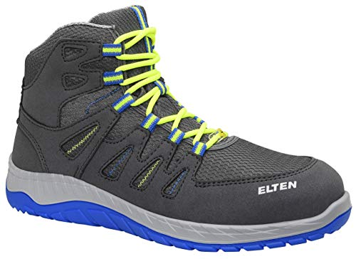 ELTEN MADDOX grey-blue Mid ESD S1P Sportlicher Sicherheitsschuh im Sneaker-Design mit Infinergy Dämpfung Microfaser-Textilmaterial Stahlkappe Lederfrei Metallfreier Durchtrittschutz Textilfutter Gr