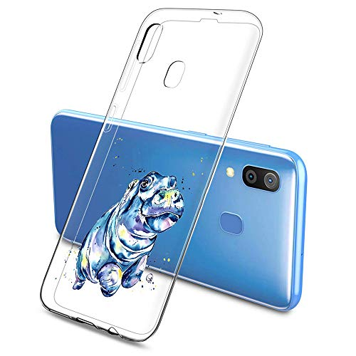 Suhctup Compatible con Samsung Galaxy J5 Prime 2017 Funda de TPU Silicona con Dibujos Lindo Animados Diseño Cárcasa Slim Transparente Suave Flexible Antigolpes Proteccion Bumper Caso,Hipopótamo