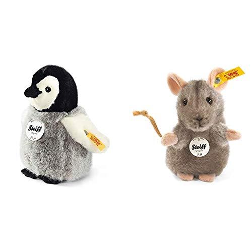 Steiff Flaps Pinguin - 16 cm - Plüschpinguin - Kuscheltier für Kinder - weich & waschbar - schwarz / weiß / grau (057144) & 056222 Piff 10 grau aufwartend Maus