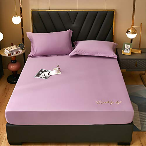 Bed Sheet Washed Silk Bed Cover Single Solid Color Non-Slip Sheet Cover Dust-Proof Queen Bed Cover Multi-Color Optional 200x220cm