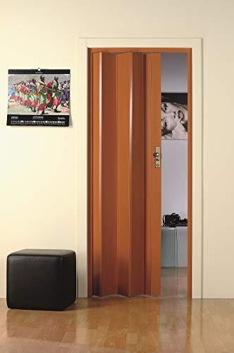 Falttür aus PVC Kunststoff Kirschfarben, H 214 x 83 cm, Griff, Raumteiler, Nischentüre, Trennwand