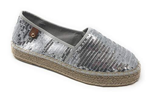 Tamaris Tamaris Schuhe 1-1-24602-28 Bequeme Damen Slipper, Halbschuhe, Sommerschuhe für modebewusste Frau, Trend metallic (Silver Sequins), EU 36