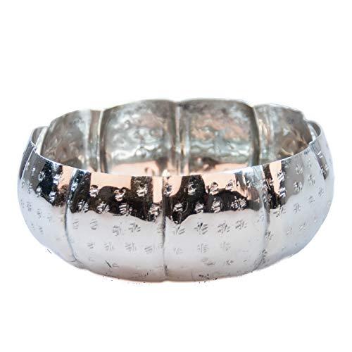 Orientalisches rundes Tablett Schale aus Metall 20cm groß Silber   Orient Dekoschale mit hohem Rand   Marokkanisches Serviertablett Rund   Orientalische Silberne Deko auf dem gedeckten Tisch