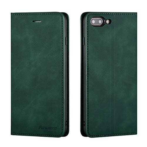 QLTYPRI Case for iPhone 7 iPhone 8 iPhone SE 2020, Premium PU Leather Cover TPU Bumper with Card Holder Kickstand Hidden Magnetic Adsorption Flip Wallet Case Cover for iPhone 7 8 SE 2020 - Green