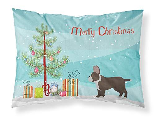Caroline Treasures - Fundas de Almohada estándar de Tela para árbol de Navidad, diseño de Bulldog francés, Color Negro