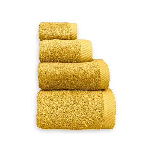 COTTONREUS Toalla Cottonplus 30% Bambú y 70% Algodón de 600 grms Color Mostaza. Muy absorvente y Suave. Medida tocador 30 x 50 cm.