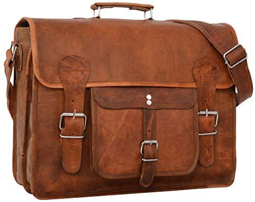 Gusti Umhängetaschen Herren Leder- Leon Arbeitstasche für Herren Ledertasche Aktentasche Herren Lehrertasche Laptoptasche Braun Unisex