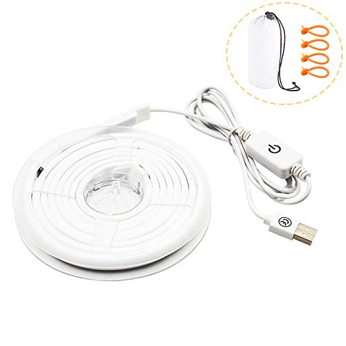 Bonlux 2-Sets USB LED Camping Strip Tent Lights Portable Lantern Waterproof LED Rope String for Outdoor Hiking Backpacking Night Riding Caravan Car Repairing Garden Lighting (Cold White 6000K)
