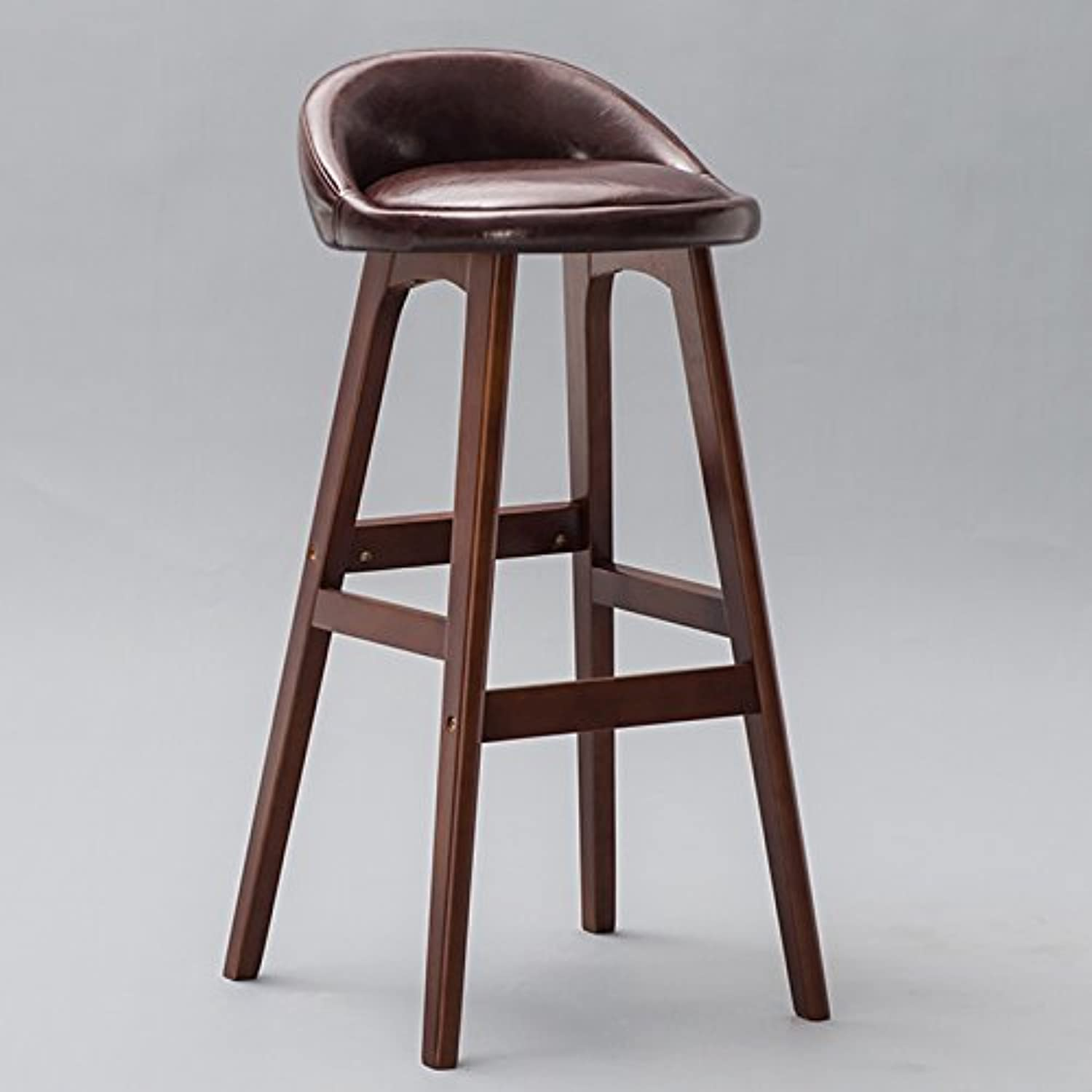 Solid Wood High-leg Bar Backrest Chair, Creative Bar Chair Retro Front High Stool ( color   Brown , Size   S )