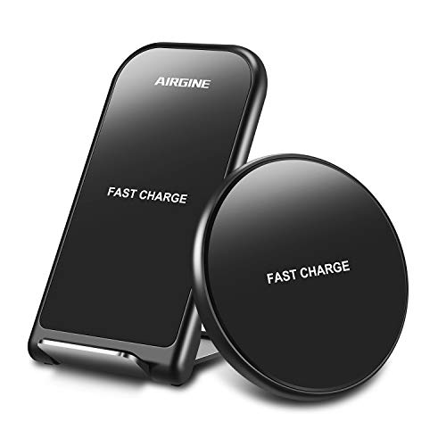 AIRGINE Wireless Charger, [2 Pack] 10W QI Fast Wireless Charger Pad Stand, Compatible with iPhone 11/11 Pro/11Pro MAX/XS Max/XR/XS/X/8, Samsung Galaxy S10/S10p/S10E/S9 and More(No AC Adapter)