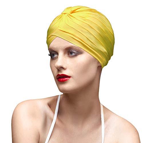 BALNEAIRE Spandex Swim Cap Colorful Bathing Turban Swimming Cap Yellow