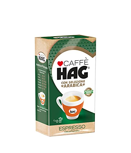 Hag - Caffè Macinato Espresso Decaffeinato - Miscela Caffè per Moka con Selezione di Arabica e Robusta - 16 Confezioni - Pacco da 250 gr