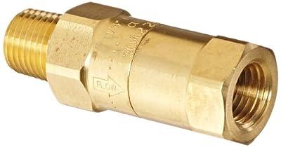 "Dixon Valve SCVL2 Brass Safety Check Valve, 1/4"" NPT Male x 1/4"" Hose ID Barbed, 23-29 SCFM Flow from Dixon Valve & Coupling"