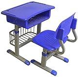 MJK Höhenverstellbares Schreibtisch  und Stuhlset, Schülerschreibtisch mit Schublade, Bleistiftschlitz, Aufbewahrungskorb,Blau