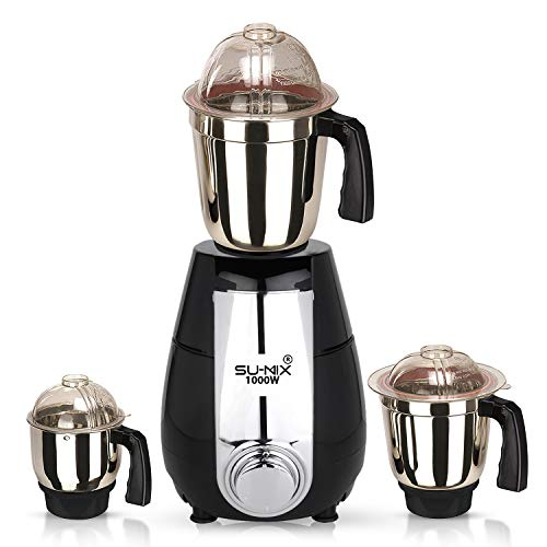Sumix 1000watt Mixer Grinder with 3 SJ Stainless Steel Jar (Black) MA2019 Make in India 100% Copper.