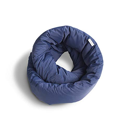 Huzi Design Infinity - Almohada de Viaje, Tipo Bufanda con Forma Signo Infinito Azul Marino