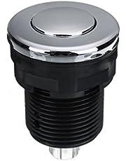POHOVE Interruptor de botón de aire de acero inoxidable con botón de instalación y desecho de basura para el hogar, multiusos, para baño de masaje neumático (28 mm), color blanco