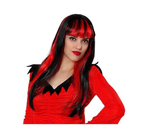 Perruque femme cheveux longs noirs à mèches rouges - Rouge, Adulte : Standard - Taille unique