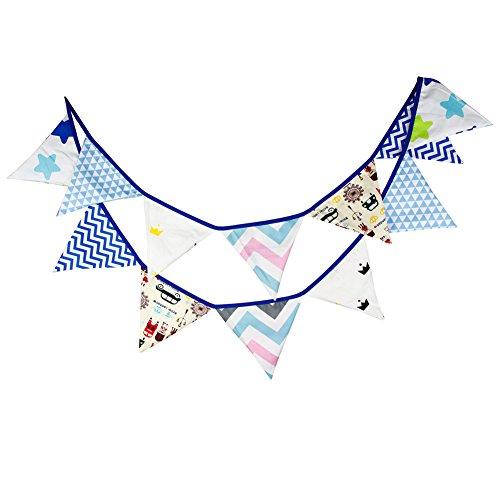 Guirnalda de banderines 3,2 m, decoración para habitación infantil, fiesta, cumpleaños azul...