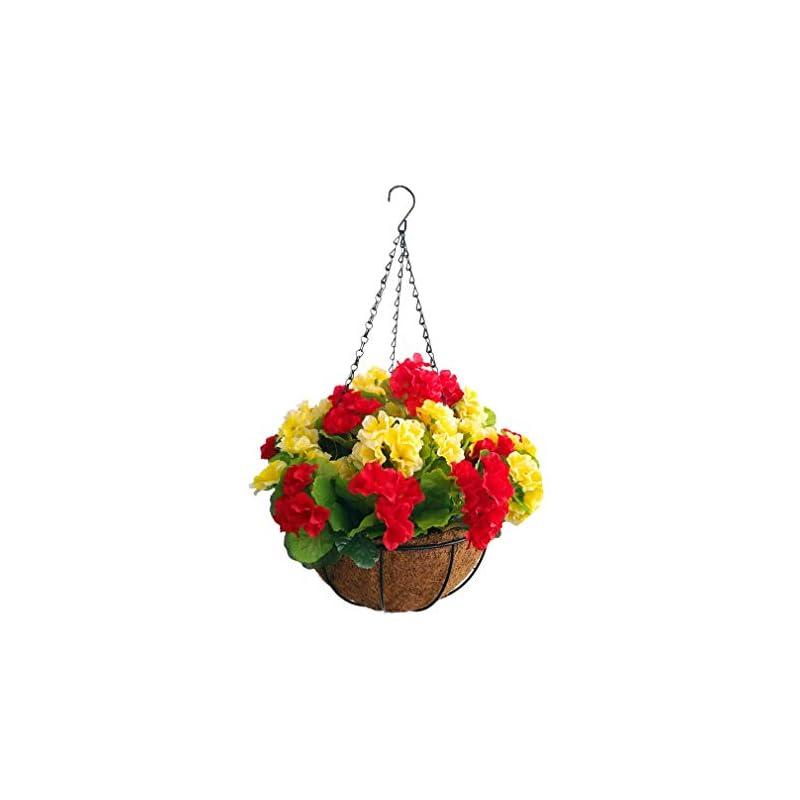 silk flower arrangements bo lala chain hanging basket flowerpot artificial begonia flower silk flowers red and yellow (9.85 inch)