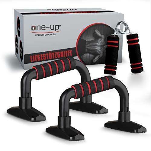 one-up® Professionelle Liegestützgriffe – [2]er Set Fitnessgerät – Hochwertige Antirutschunterfläche – Inklusive Handtrainer – Exklusives Fitness Zubehör (Schwarz)