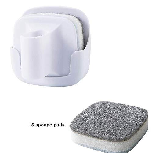 ZXYSR Opknoping afwasborstel, anti-slip spons met handvat, afwasmiddel, schuurkussen, keukenspons vaatwasser (5 spons pads)