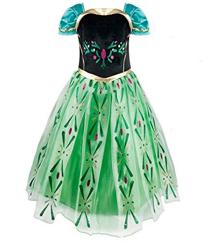 Hamanasu Disfraz de princesa de Anna para nias, vestido de fiesta de cumpleaos de Navidad, color verde, 4Y-110