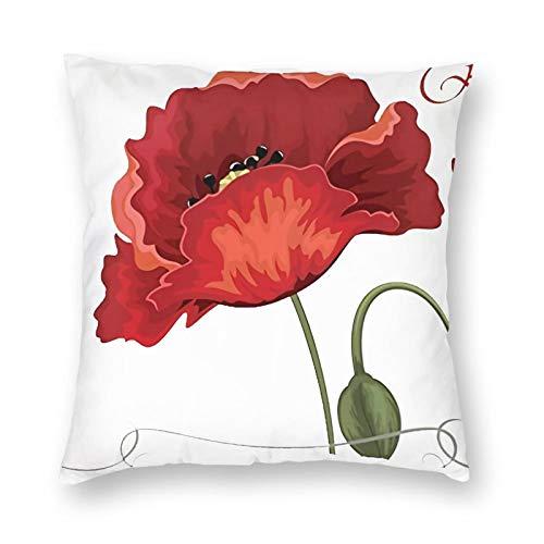 DESIGNS - Funda de cojín, diseño de amapolas rojas, decoración para el hogar, para hombres, mujeres, niños, niñas, sala de estar, dormitorio, sofá de 60 x 60 cm