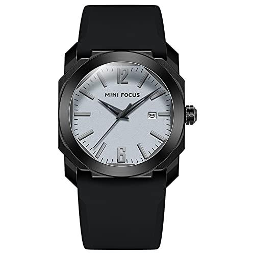 JTTM Reloj De Cuarzo para Hombre De Negocios De Moda con Cronógrafo Impermeable De Correa De Silicona para Hombre, Fecha Automática,Black Gray