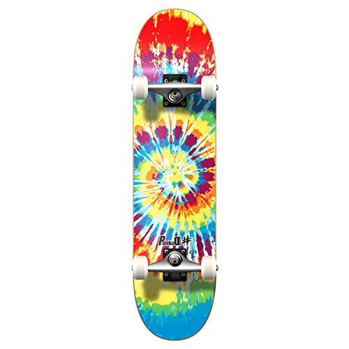 "Yocaher Punked Complete Skateboard 7.75"" x 31"" Pro Skateboards with Black Widow Grip Tape, Aluminum Alloy Truck, ABEC-7 Bearing, 54mm Skateboard Wheels (Complete 7.75"" Tie Dye Original)"