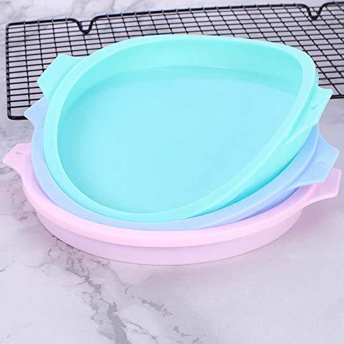 KUWEI Silicone Layered Cake Round Shape Mold,Non-Stick Baking Mold,Silica Gel Mould Baking Dish Cake Mould,Baking Tools(Blue)