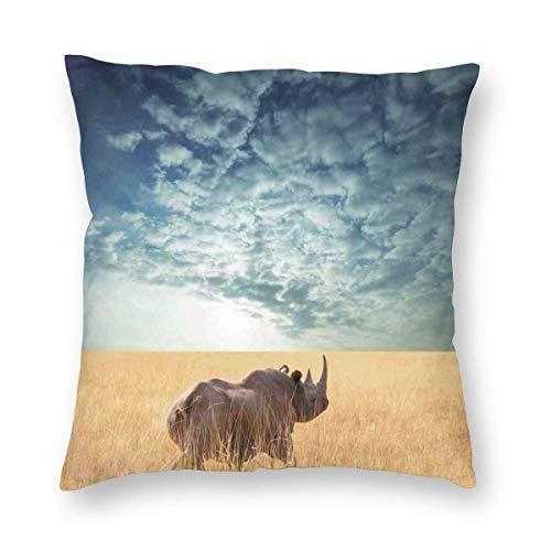 Fleeting Art Studio Rhino Rinoceronte - Funda de almohada cuadrada portátil para sofá, sala de estar, decoración de aula, 40 x 40 cm, 3 unidades