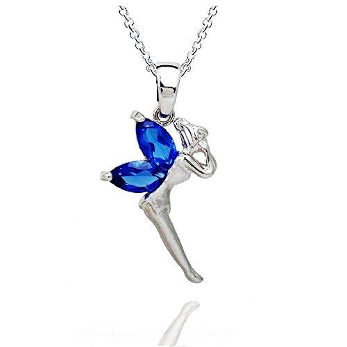 18 ct Chapado en oro azul zafiro Crystals from Swarovski de hada Campanilla colgante collar