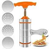 Máquina Manual de Pasta de Acero Inoxidable con 4 Moldes, Haga Espaguetis o Fettuccine