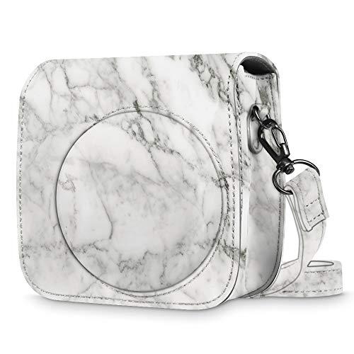 Fintie Tasche für Fujifilm Instax Mini 8 / Mini 9 Sofortbildkamera - Premium Schutzhülle Reise Kameratasche Hülle Abdeckung mit abnehmbaren Riemen, Marmor Muster White