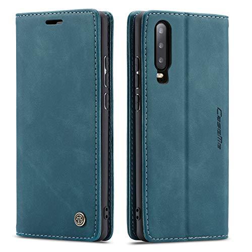 QLTYPRI Hülle für Huawei P20 Pro, Vintage Dünne Handyhülle mit Kartenfach Geldtasche Standfunktion PU Ledertasche TPU Bumper Flip Schutzhülle Kompatibel mit Huawei P20 Pro - Blau