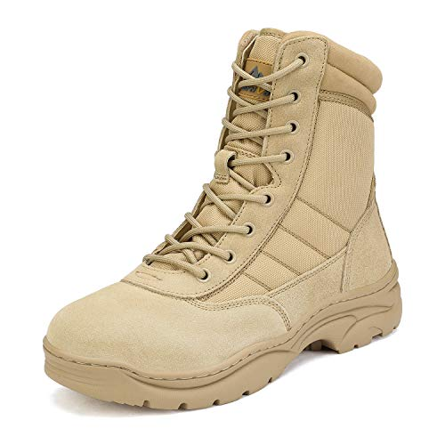 NORTIV 8 Men's Military Tactical Work Boots Side Zipper Leather Outdoor Motorcycle Combat Bootie Sand Size 11 M US Trooper